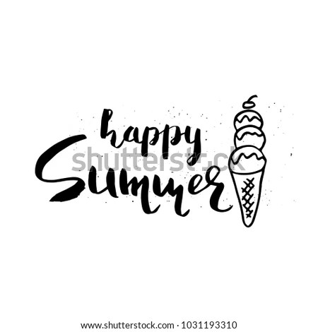 Beautiful Summer Poster Hand Drawn Lettering Stock Illustration - pretty lettering stencils