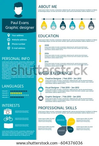 Perfect Resume Flat Style Design On Stock Vector 604376036