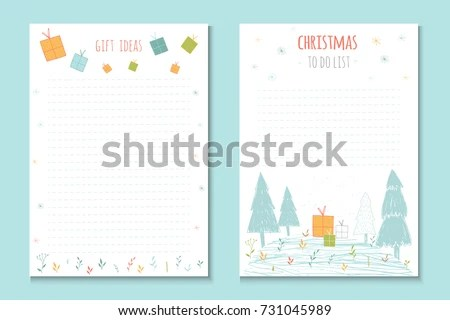 Christmas Holiday Do Lists Cute Notes Stock Vector 731045989