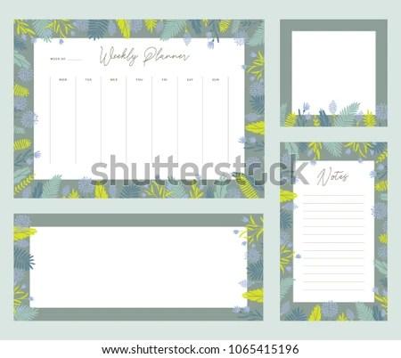 Cute Vector Weekly Planner Templates Elegant Stock Vector 1065415196
