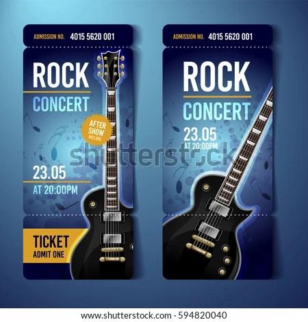 Vector Rock Festival Ticket Design Template Stock Vector 594820040 - concert tickets design