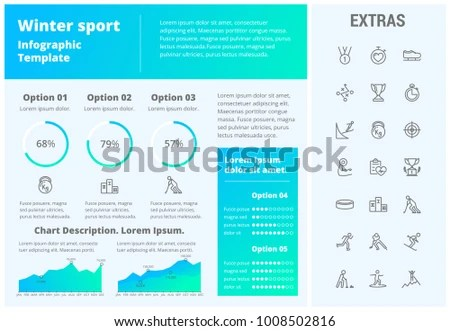 Winter Sport Infographic Template Elements Icons Stock Vector