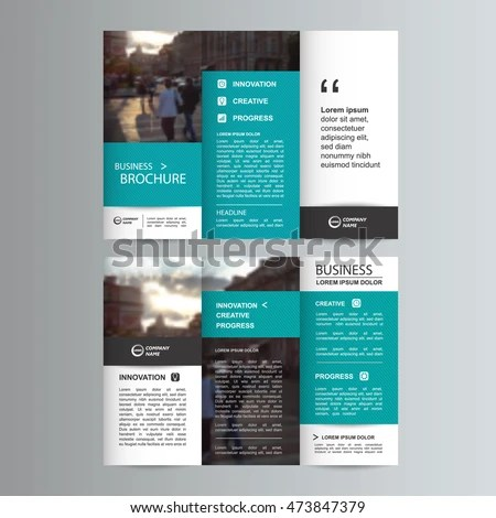 Geometric Trifold Business Brochure Leaflet Flyer Stock Photo (Photo - tri fold business brochure