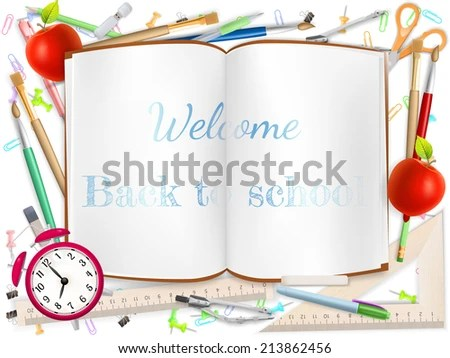Welcome Back School Template Schools Supplies Stock Vector HD - welcome back template