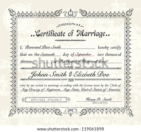 Marriage Certificate Stock Images, Royalty-Free Images \ Vectors - marriage certificate