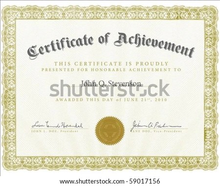 Vector Certificate Sample Outlined Text Perfect Stock Vector