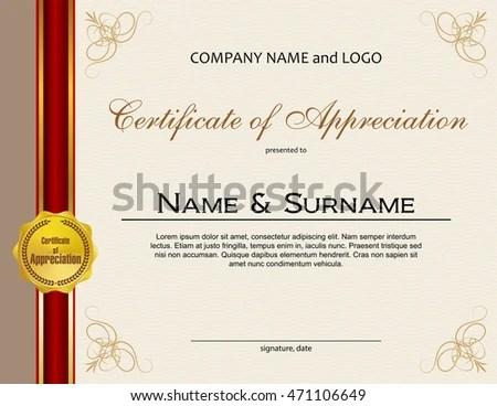 Certificate Appreciation Medal Ribbon Stock Vector 471106649 - certificate of appreciation