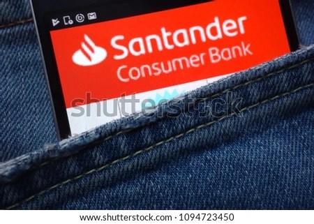 Santander Consumer Bank Website Displayed On Stock Photo (100 Legal