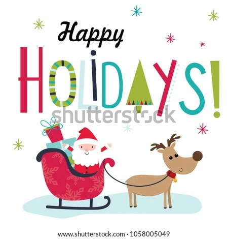 Colorful Christmas Card Santa Clause Reindeer Stock Vector