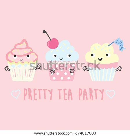 Cute Sweet Cupcakes Illustration Vector Slogan Stock Vector (2018