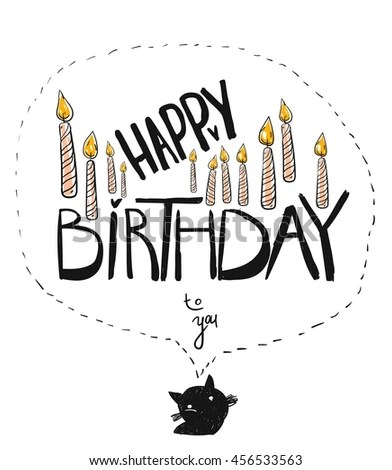 Hand Drawn Vector Happy Birthday You Stock Vector 456533563 - birthday cake card template