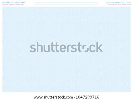 Isometric Dot Paper Vector Printable Sheet Stock Vector 1047299716 - printable dot grid paper