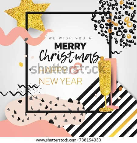 Merry Christmas Card Poster Design Trendy Stock Vector (Royalty Free