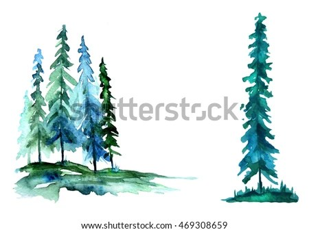 Vector Wallpaper Fall Colors Watercolor Trees Forest Pine Blue Sprucelandscape Stock