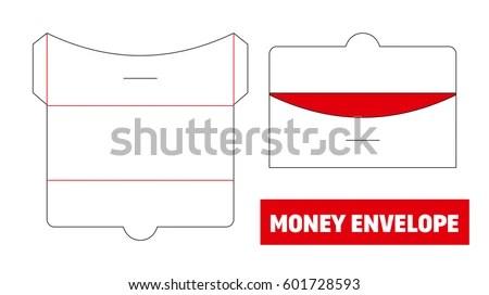 Money Cash Envelope Die Cut Stamp Stock Vector (Royalty Free - money gift envelope template
