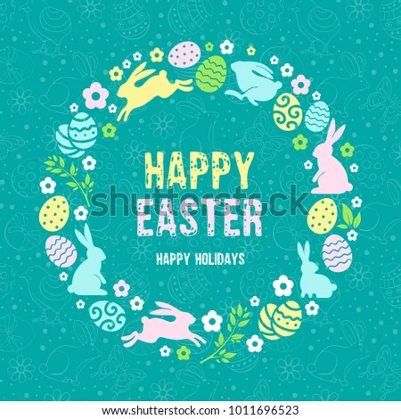Happy Easter Greeting Card Template Stylized Stock Photo (Photo