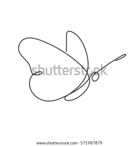 Flying Bird Continuous Line Drawing Element Stock Vector (Royalty - line drawing