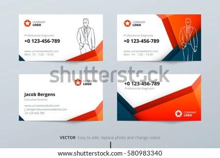 Business Card Design Blue Orange Business Stock Vector (2018