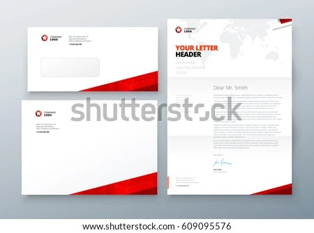 Envelope DL C 5 Letterhead Red Corporate Stock Vector 609095576