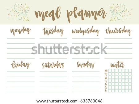 Floral Weekly Daily Meal Planner Template Stock Photo (Photo, Vector - daily menu planner template
