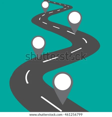 Road Separating Blank City Map Markers Stock Vector 461256799