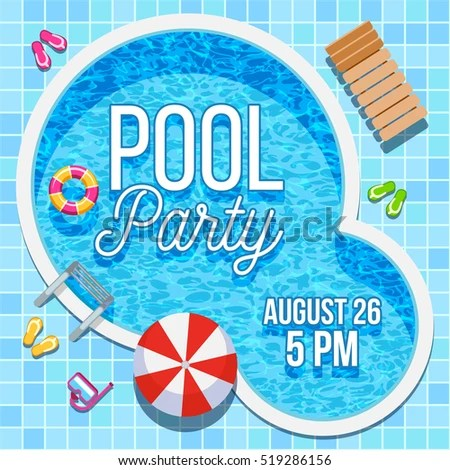 Summer Pool Party Invitation Nobody Water Stock Illustration