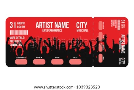 Concert Ticket Template Concert Party Festival Stock Vector (Royalty