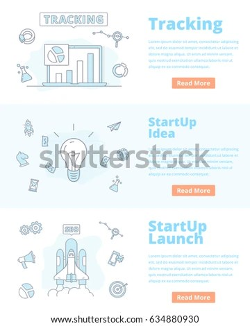 Set Banner Concept Startup Idea Tracking Stock Vector 634880930