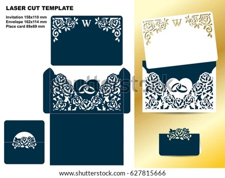 Set Wedding Floral Template Invitation Card Stock Vector HD (Royalty