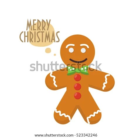 Christmas Greeting Card Traditional Gingerbread Man Stock Vector - gingerbread man template