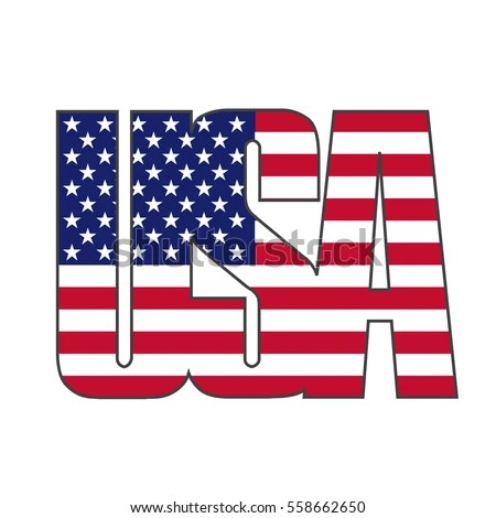 USA United States America Text Graphic Stock Vector (Royalty Free - word flag