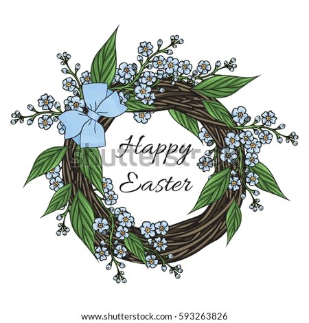 Wreath Forget Me Not Flowers Leaves Stock Vector 593263826 - sample easter postcard template