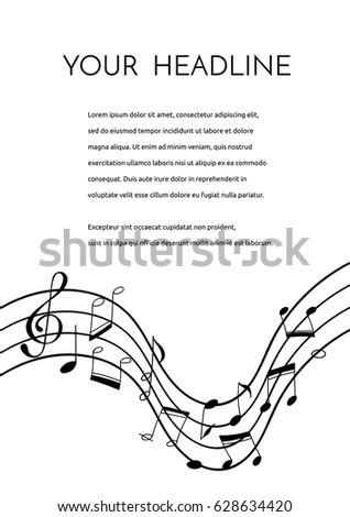 Vector Flyer Brochure Template Hand Drawn Stock Vector 628634420 - treble clef template
