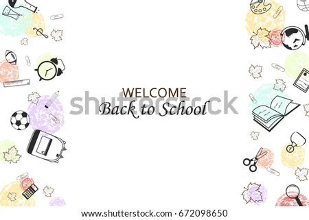 Welcome Back School Concept School Supplies Stock Illustration - welcome back template