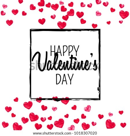 Valentines Day Card Red Glitter Hearts Stock Vector 1018307020