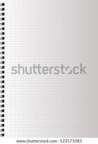 Realistic Blank Squared Notebook Paper Spiral Stock Vector 523571083 - blank diary page