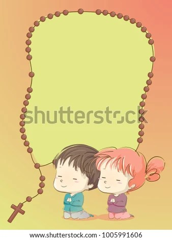 Girl Praying To God Wallpaper Background Illustration Kids Praying Rosary Frame Stock