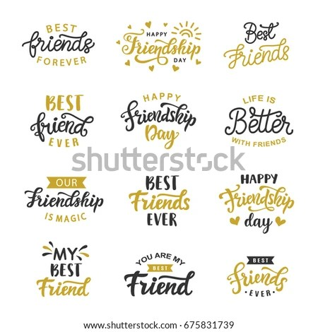 Happy Friendship Day Cute Hand Written Stock Photo (Photo, Vector