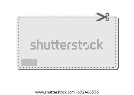 Blank Coupon Template Barcode Dotted Line Stock Vector 692468536