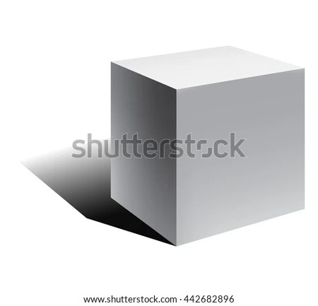 3 D Cube Cube Shadow Vector Illustration Stock Vector 442682896