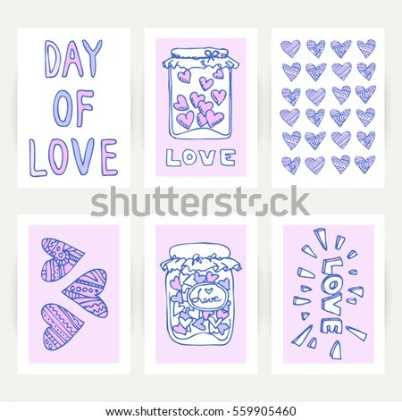 Handdrawing Valentines Cards Hearts Words Love Stock Vector - valentines cards words