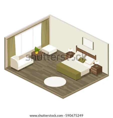 Hotel Room Isometric View Large Double Stock Photo (Photo, Vector - isometric view