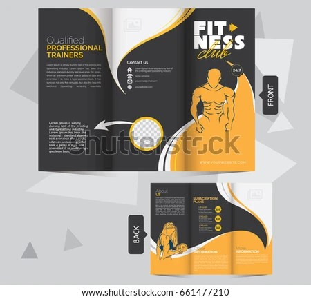 Tri Fold Fitness Brochure Design Template Fitness Stock Vector - Fitness Brochure Template