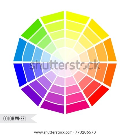 Bright Color Wheel Chart Isolated On Stock Vector 770206573