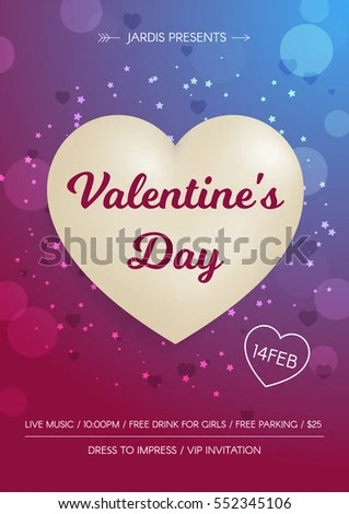 Valentines Day Flyer 3 D White Hearts Stock Vector 552345106