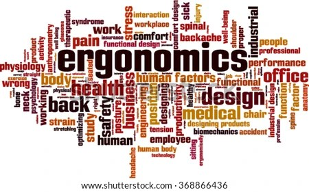 Ergonomics Word Cloud Concept Vector Illustration Stock