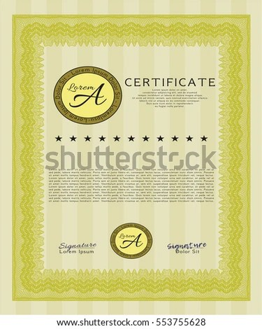 Voucher Template Guilloche Pattern Watermark Border Stock Vector   Money  Certificate Template