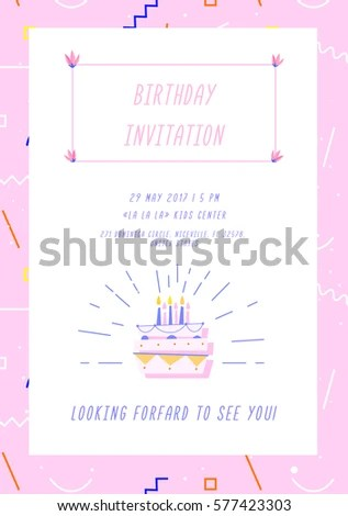 Birthday Invitation Card On Geometric Background Stock Vector - invitation forms