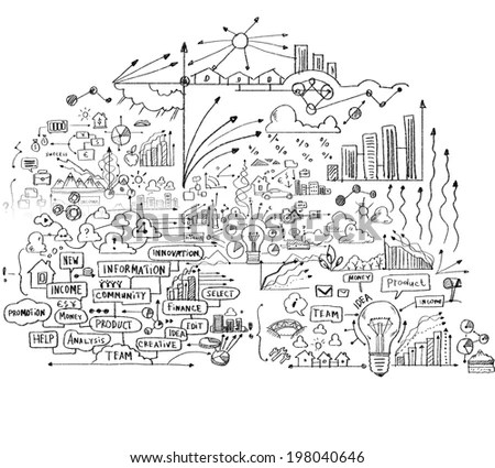 Background Conceptual Image Business Sketches On Stock Illustration - background sketches