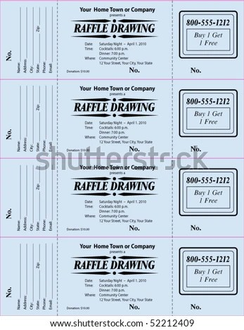 Raffle Ticket 3 Part Vector Template Stock Vector (2018) 52212409 - fundraising ticket templates
